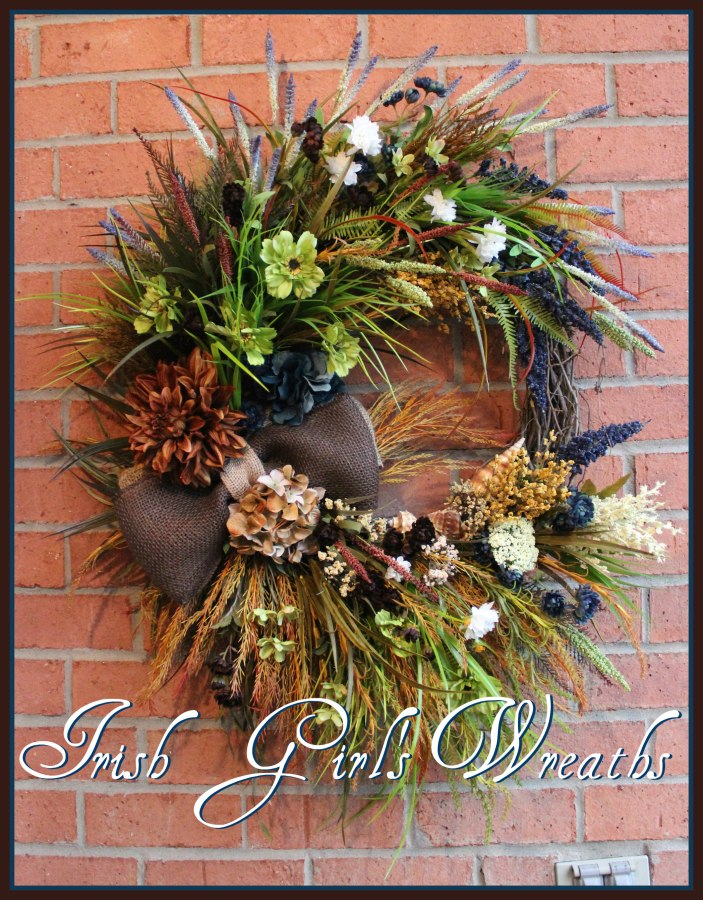 Back to listings Brown and Teal Blue Large Rustic Irish Coastal Wreath, Donegal Ireland, Beach