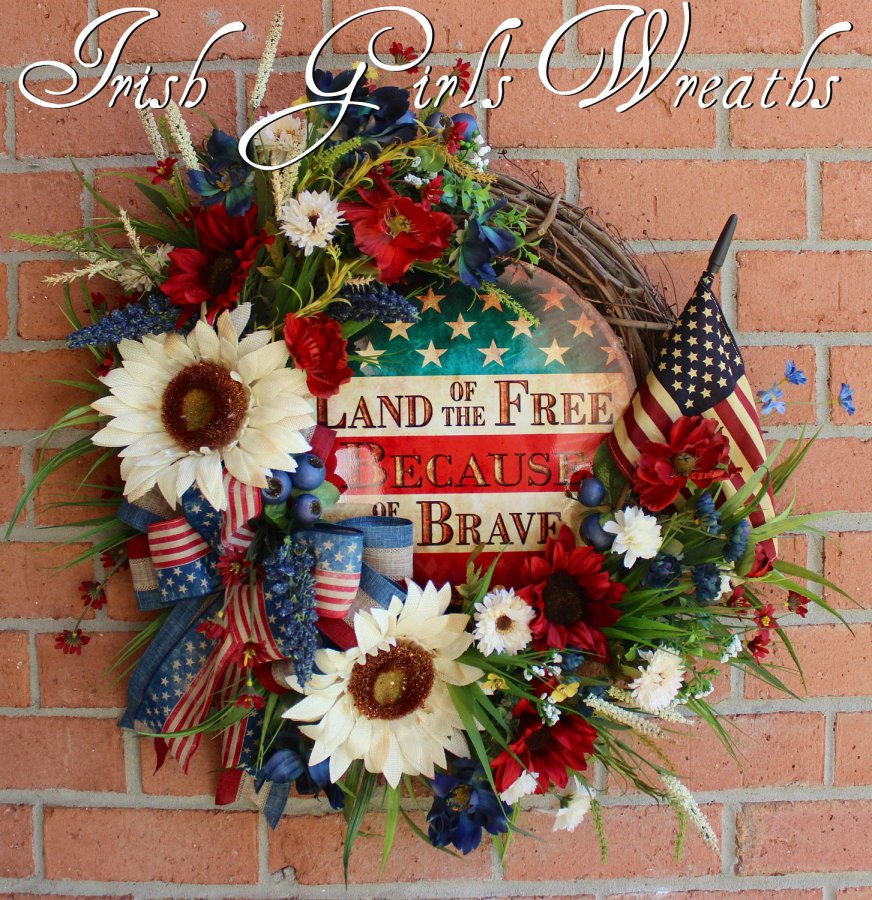 Rustic Land of the Free Because of the Brave Patriotic Wildflower Wreath
