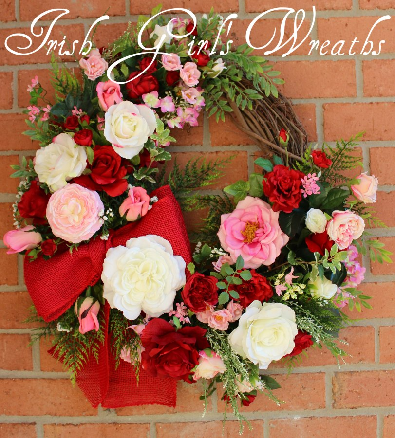 Pink and Red Valentine Rose Garden Wreath