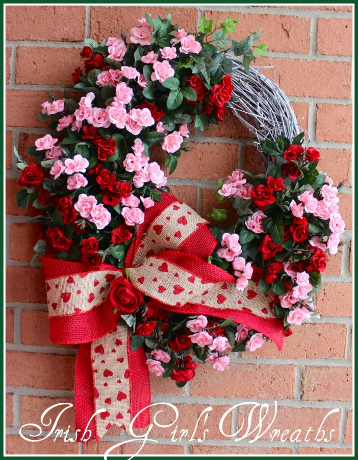 rustic sweetheart rose Valentine Wreath
