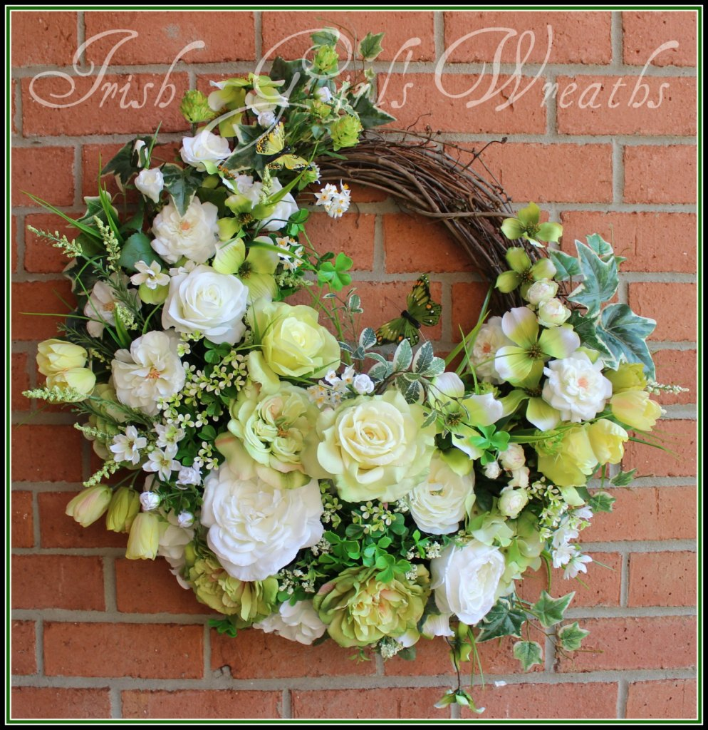 St Patricks Green and White Rose Garden Wreath, Summer, Spring, large, Cottage, hydrangea, tulip, Dogwood, shamrock, clover