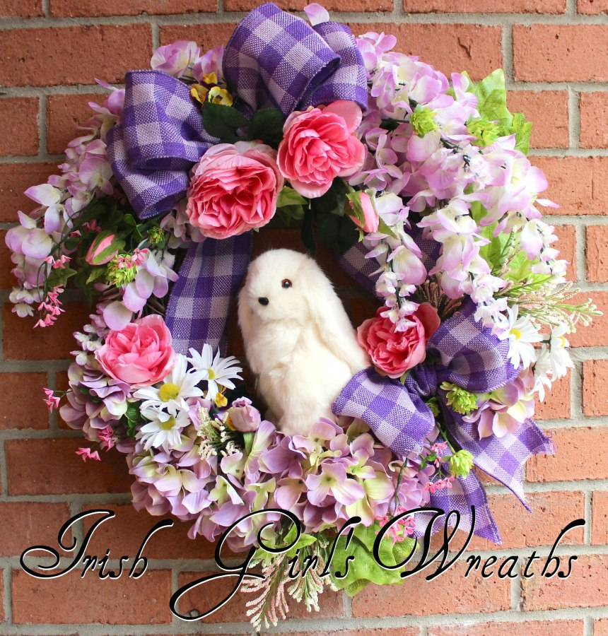 Easter Floppy Eared Bunny Wisteria Spring Wreath