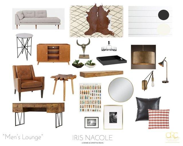 Mid Century Modern Rustic Men's Lounge-Mood Board by IrisNacole.com