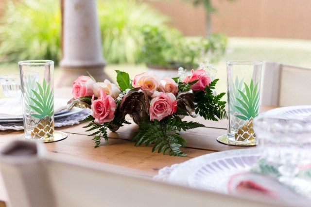 Roses Outdoor Floral Display Tablescape