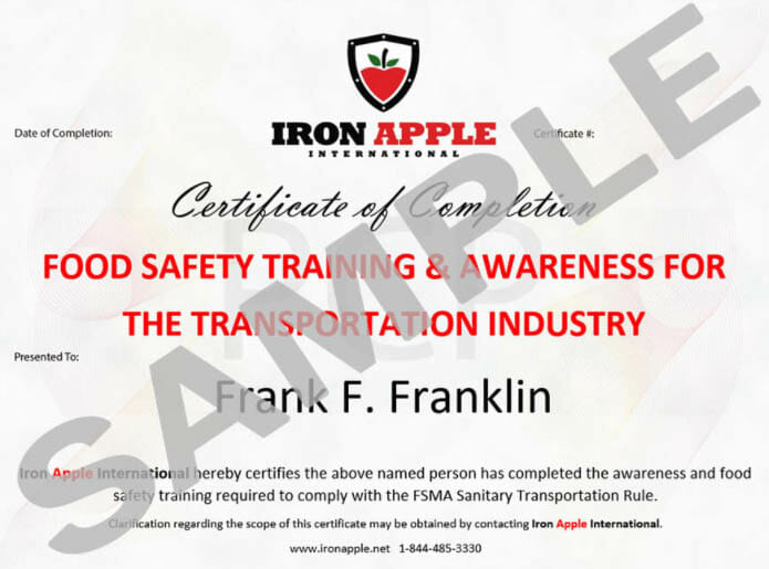 Training Certificate of Completion Sample - Iron Apple International