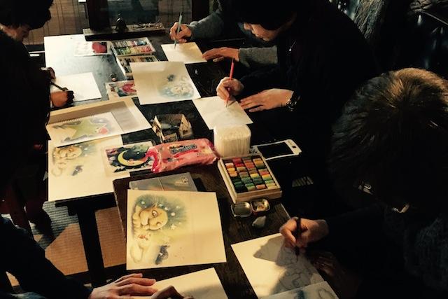 ルポ 沖明日香 色のね パステル画 パステルアート イラストレーター イラスト 画家 アート 絵 ライオン ネズミ 月