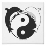 Yin Yang Dolphins Black/White