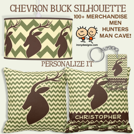 Chevron Pattern Buck Silhouette Personalize Gifts