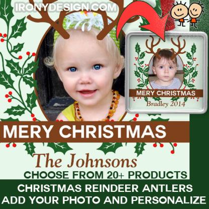 Christmas Reindeer Antlers Personalize Photo