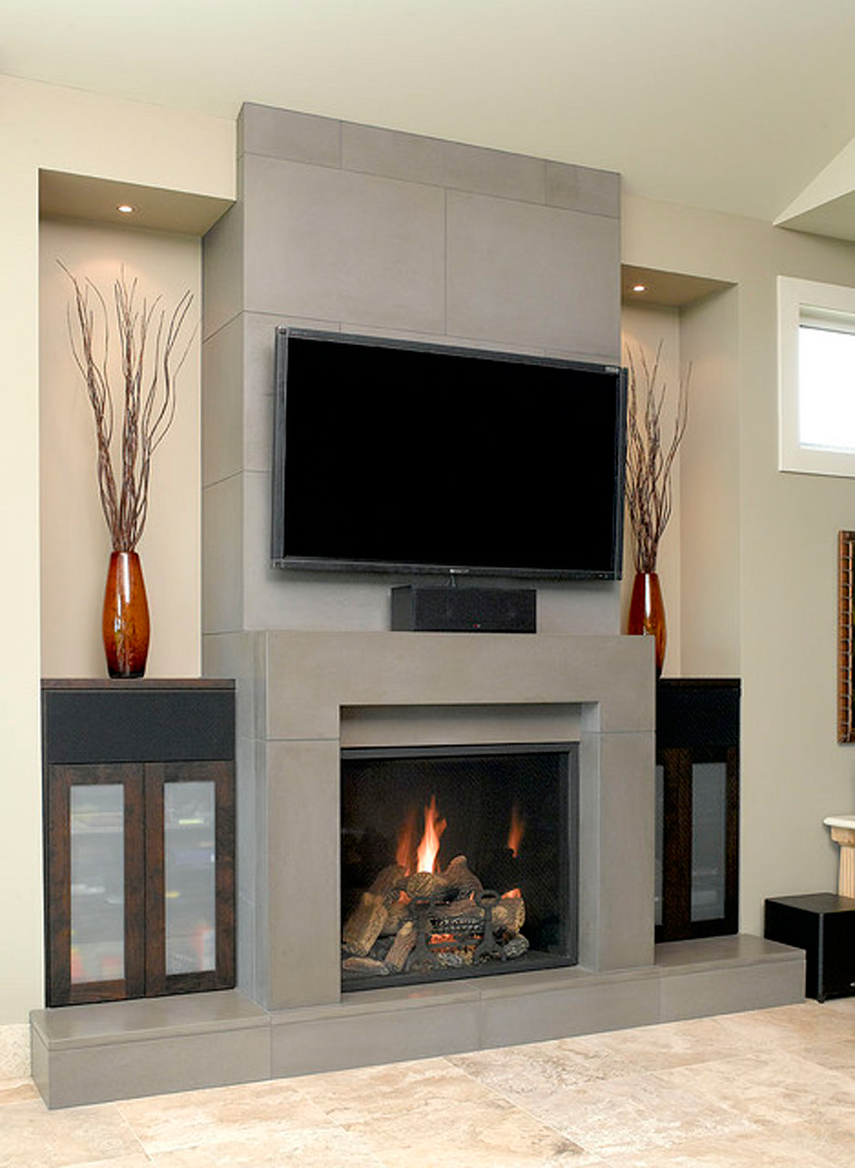 Modern Fireplaces Grey Concrete Fireplace Designs Iroonie