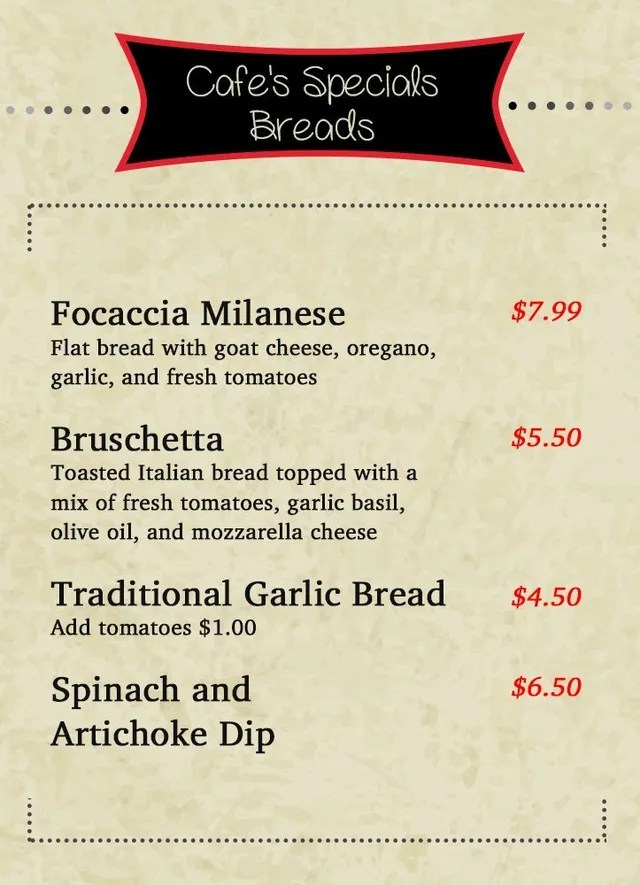 Welcome to Italian Cafe in Las Colinas - italian menu