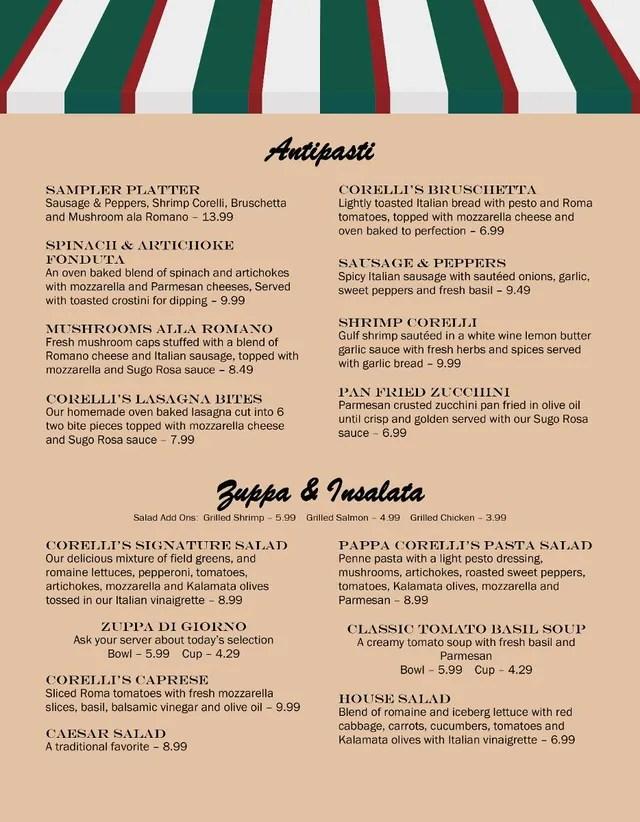Sugar Land Dinner Menu for Corelli\u0027s Italian Cafe