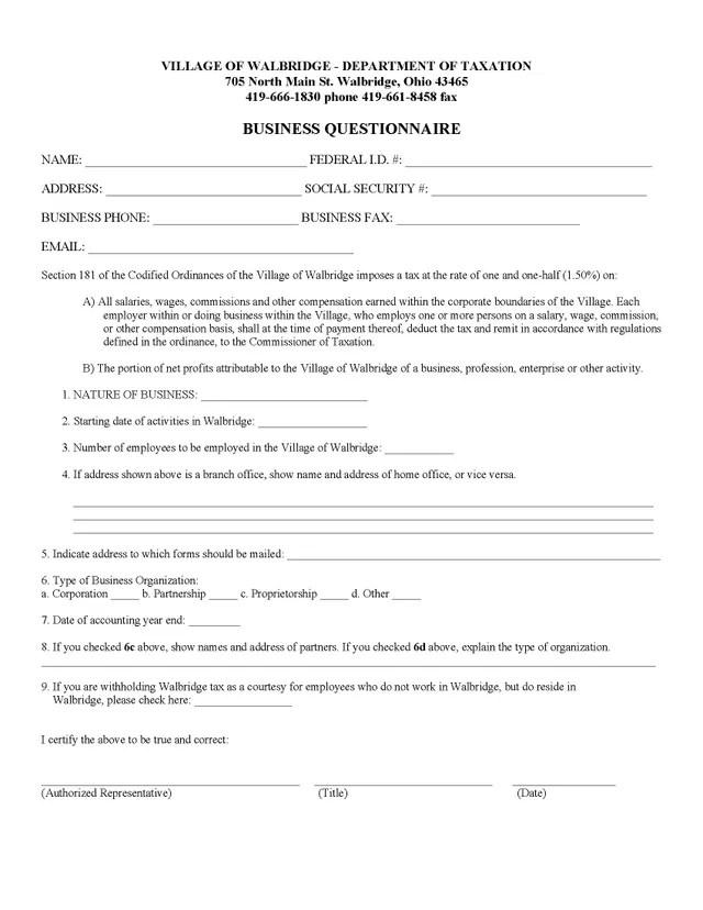 Village of Walbridge Ohio Tax Forms - tax form