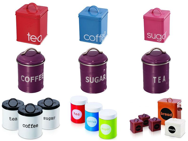 Black Large Bread Bin Tea Coffee Sugar Biscuit Jars