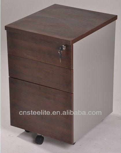 Beige Mobile 3 Drawer Pedestal Cabinet Wood Under Desk