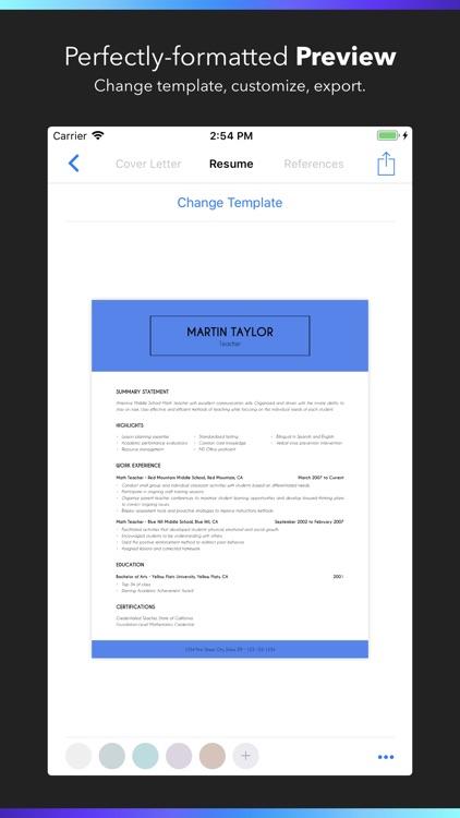 resume builder on ipad