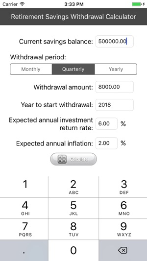 Retirement Savings Withdrawal Calculator on the App Store - retirement withdrawal calculator
