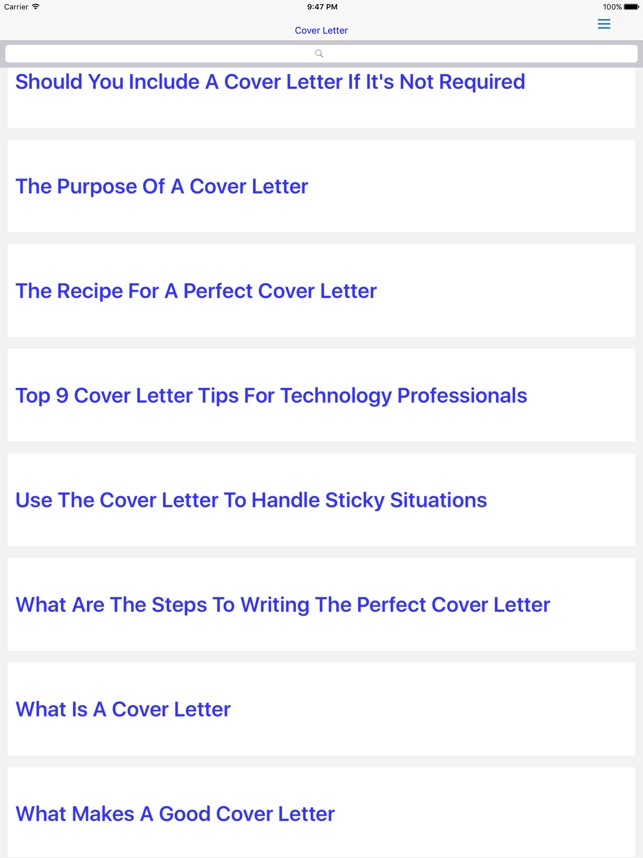 Cover Letter on the App Store - what to include in cover letter