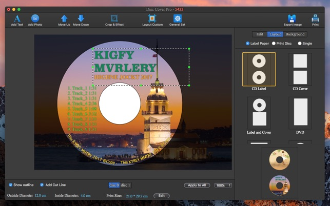 CD DVD Cover Pro - Disc Label Lite on the Mac App Store