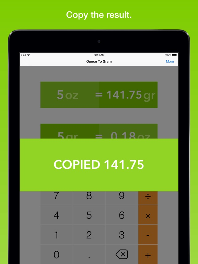 Ounce To Gram, the fastest weight converter on the App Store