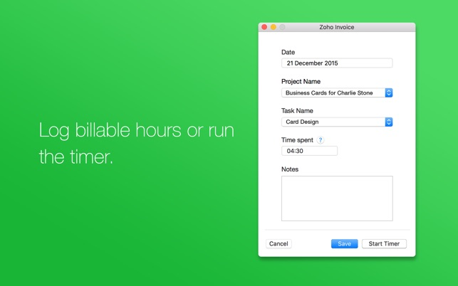 Zoho Invoice - Time Tracking on the Mac App Store