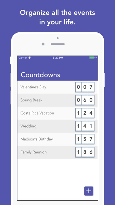 Countdown - Event Tracker by Alex Agatstein (iOS, United States - vacation tracker app