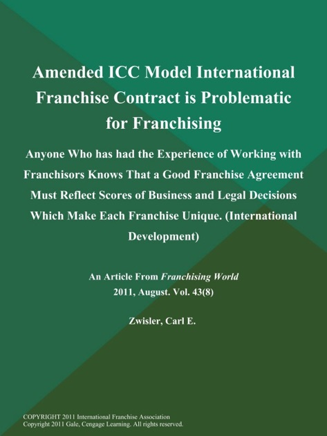 Nice ... Amended ICC Model International Franchise Contract Is Problematic    Knowing About Franchise Contracts ...