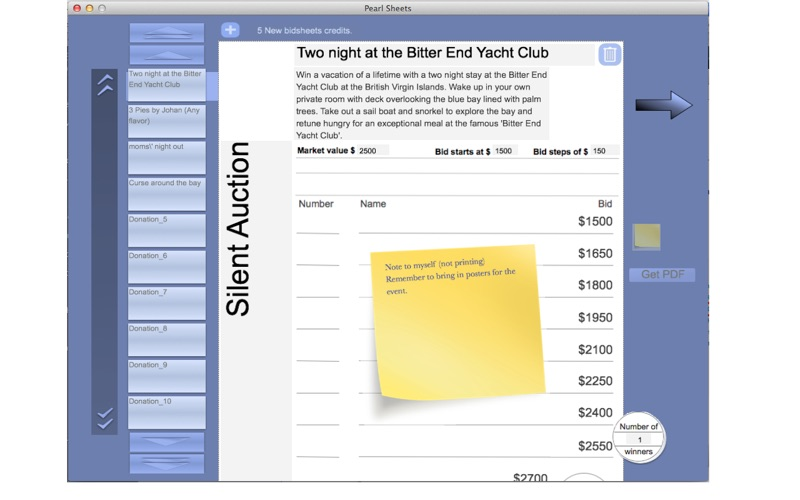 Pearl Silent Auction Bid Sheets on the Mac App Store