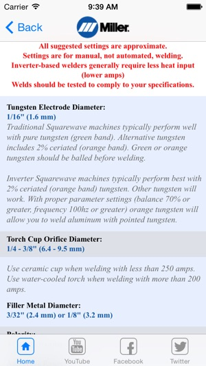 Miller Weld Setting Calculator on the App Store