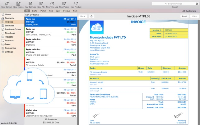 Moon Invoice - Estimate, purchase order, timesheet on the Mac App Store