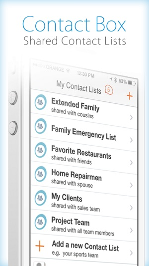 ContactBox \u2013 Sharing Contacts on the App Store - contact list