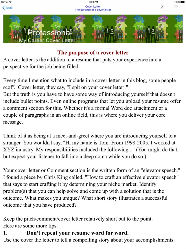 Cover Letter on the App Store - how to do a cover letter