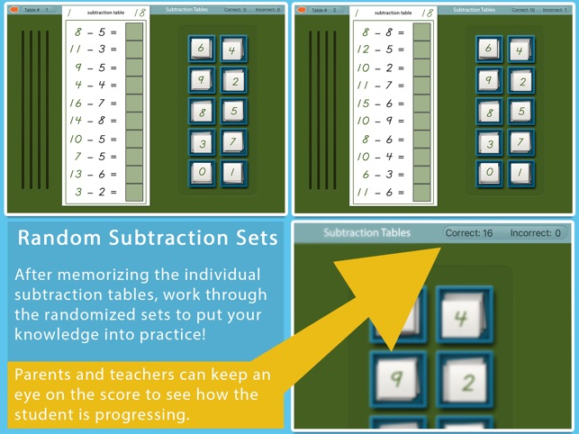 Montessori Subtraction Tables on the App Store - subtraction table