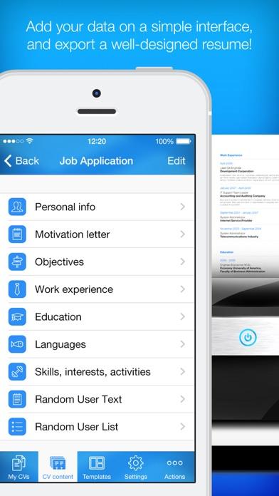 resume builder app ipad