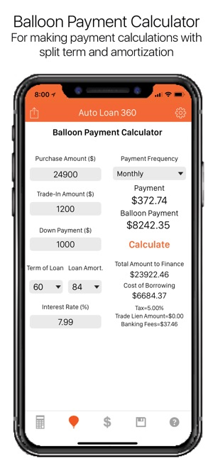 Auto Loan Calculator 360 on the App Store - baloon payment calculator
