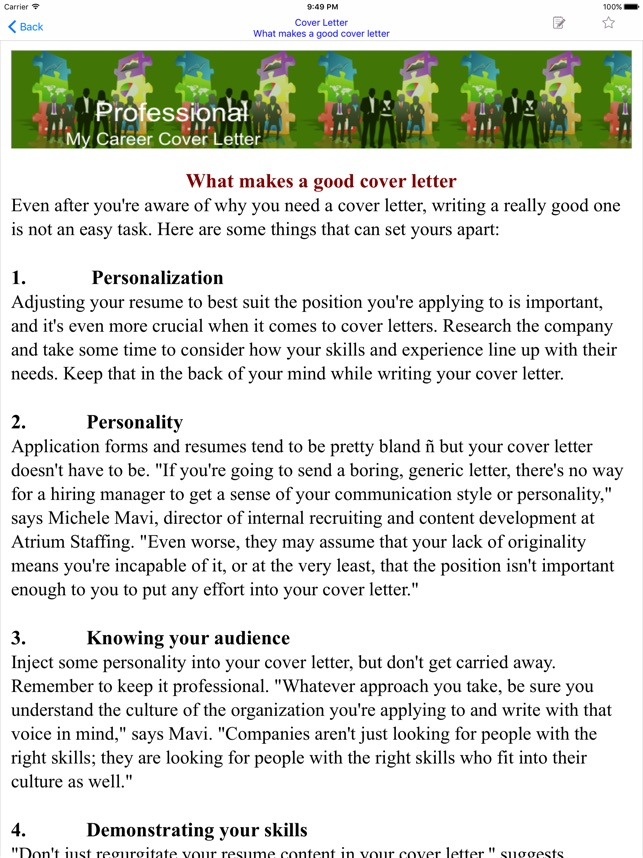 Cover Letter on the App Store - writing good cover letters