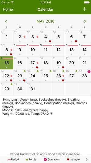 Period Tracker Lite on the App Store - calendar tracker