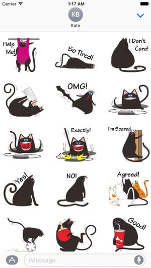 Chubby Black Cat Emoji Sticker on the App Store