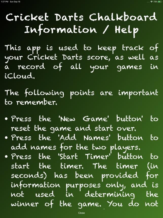 Cricket Darts Chalkboard on the App Store