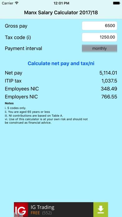 Isle of Man (Manx) salary calculator 2017/18 by Giles Morris (iOS - net pay calculator