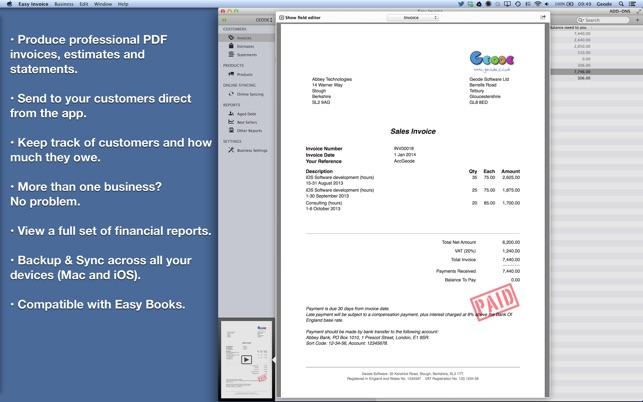 Easy Invoice (PDF generator) on the Mac App Store - invoice web app