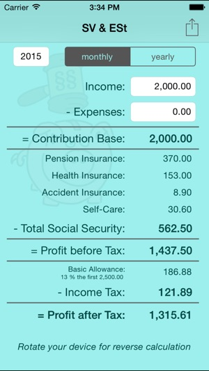 SV  ESt - social security (SVA) and income tax calculator for self