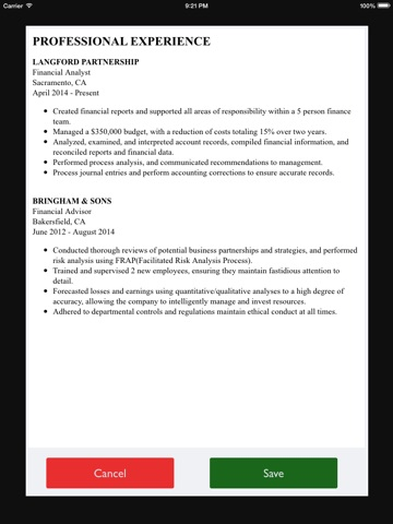 Free Resume Builder App - Professional CV Maker and Resumes Designer - free resume builder and save