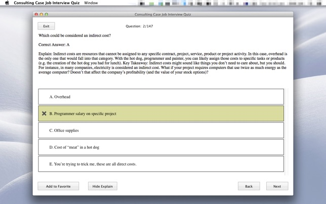 Consulting Case Job Interview Quiz on the Mac App Store