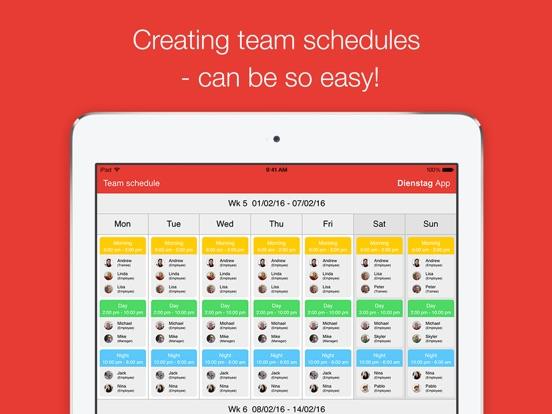 Dienstag - schedule your team I Shift Planer I Employee Scheduling I