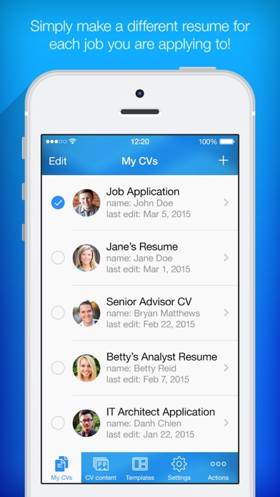 resume builder app for iphone