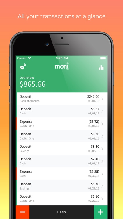 Track spending and manage personal finances with Moni (checkbook) by