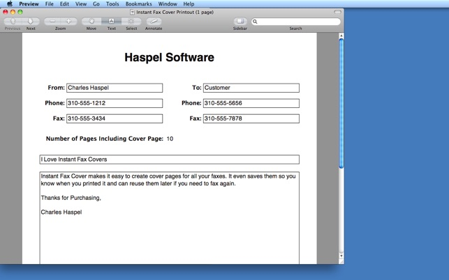 Instant Fax Cover on the Mac App Store