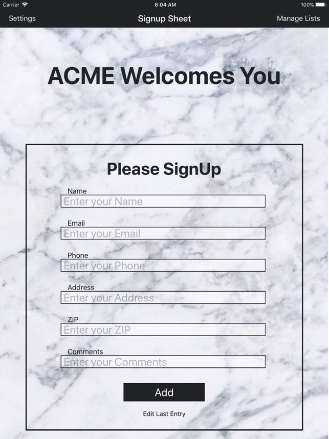 Sign-Up Sheet on the App Store