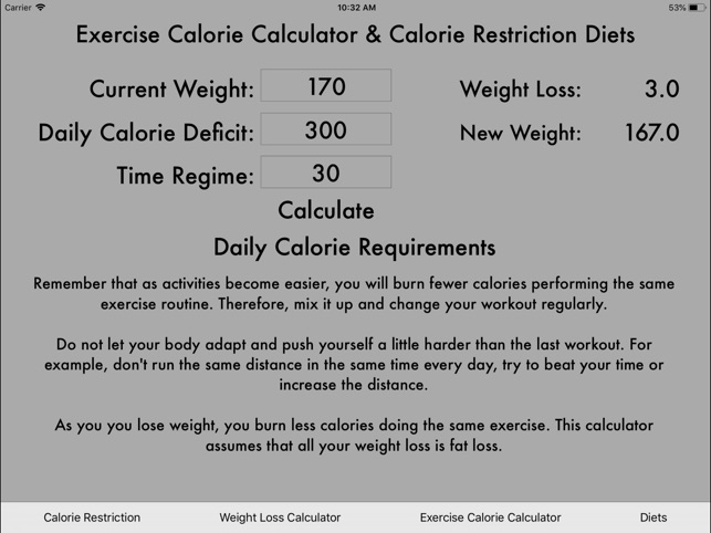 Exercise Calories Calculator on the App Store